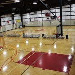 2 regulation sized courts that can also be utilized as one NBA regulation sized court.